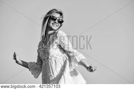 Pretty Woman Fashionable Sunglasses Outdoors. Girl Blue Sky Background. Female Health. Emotional Gir