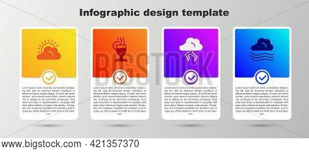 Set Sun And Cloud Weather, Mulled Wine, Storm And Windy. Business Infographic Template. Vector