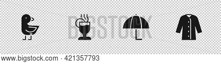 Set Little Chick, Mulled Wine, Umbrella And Raincoat Icon. Vector
