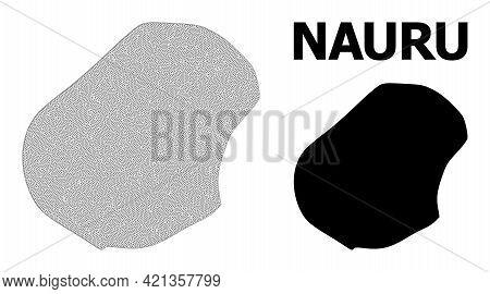 Polygonal Mesh Map Of Nauru In High Resolution. Mesh Lines, Triangles And Points Form Map Of Nauru.