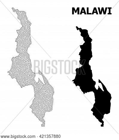Polygonal Mesh Map Of Malawi In High Detail Resolution. Mesh Lines, Triangles And Dots Form Map Of M