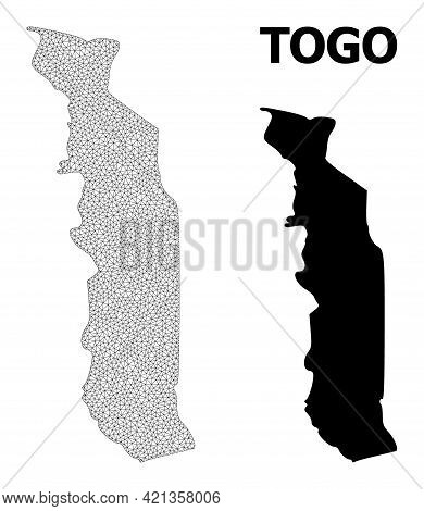 Polygonal Mesh Map Of Togo In High Detail Resolution. Mesh Lines, Triangles And Points Form Map Of T