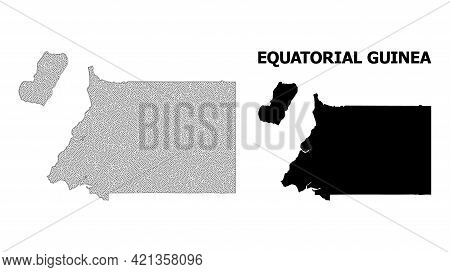 Polygonal Mesh Map Of Equatorial Guinea In High Detail Resolution. Mesh Lines, Triangles And Points