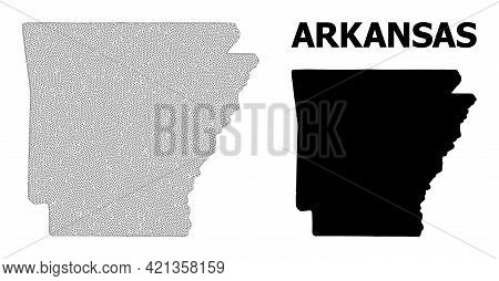 Polygonal Mesh Map Of Arkansas State In High Detail Resolution. Mesh Lines, Triangles And Dots Form