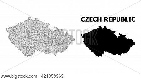 Polygonal Mesh Map Of Czech Republic In High Detail Resolution. Mesh Lines, Triangles And Dots Form