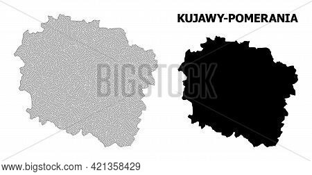 Polygonal Mesh Map Of Kujawy-pomerania Province In High Resolution. Mesh Lines, Triangles And Points