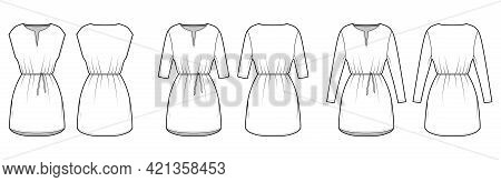 Set Of Dresses Tunic Technical Fashion Illustration With Tie, Long Elbow Sleeves, Oversized Body, Mi