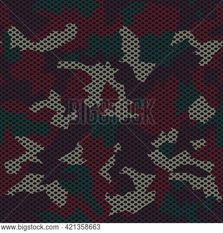 Camouflage Seamless Mesh  Pattern. Dark Camo Design For T-shirt. Military Background With Holes. Arm