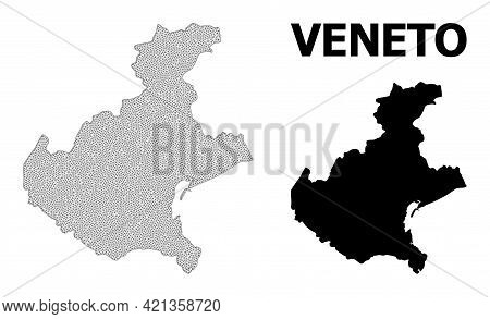 Polygonal Mesh Map Of Veneto Region In High Detail Resolution. Mesh Lines, Triangles And Points Form