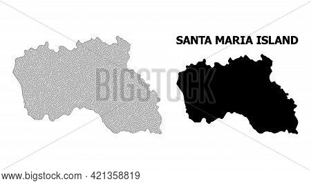 Polygonal Mesh Map Of Santa Maria Island In High Detail Resolution. Mesh Lines, Triangles And Points