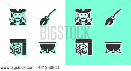 Set Halloween Witch Cauldron, Witch, Spider Web And Witches Broom Icon. Vector
