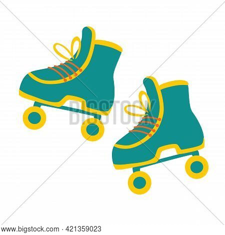 Style Roller Skate. Retro Roller Skates Icon Hipster Style. Modern Vintage. Accessories For Summer R