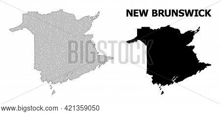 Polygonal Mesh Map Of New Brunswick Province In High Detail Resolution. Mesh Lines, Triangles And Do