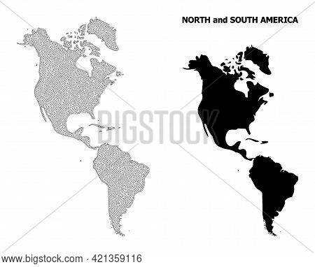 Polygonal Mesh Map Of South And North America In High Detail Resolution. Mesh Lines, Triangles And D