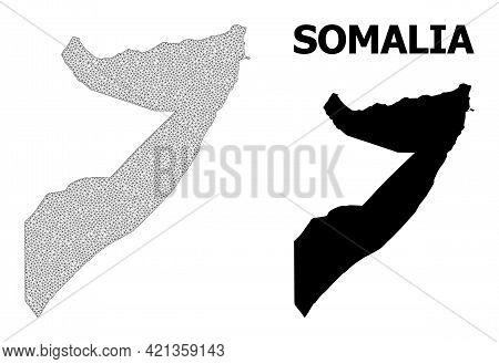 Polygonal Mesh Map Of Somalia In High Detail Resolution. Mesh Lines, Triangles And Dots Form Map Of