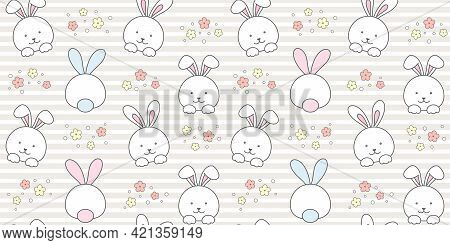 Cute Rabbit And Flowers On A Beige Striped Background. Endless Texture With White Bunny, Tiny Hare.