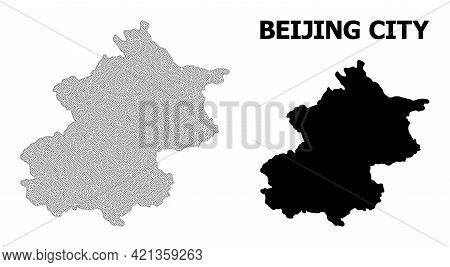 Polygonal Mesh Map Of Beijing Municipality In High Detail Resolution. Mesh Lines, Triangles And Poin