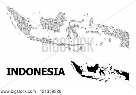 Polygonal Mesh Map Of Indonesia In High Resolution. Mesh Lines, Triangles And Dots Form Map Of Indon