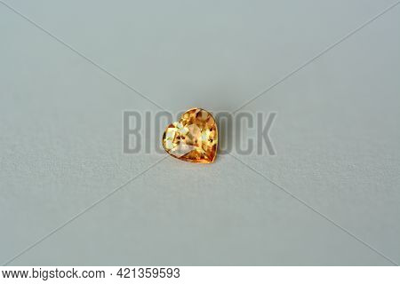 Genuine Natural Sapphire Golden Orangery Yellow Color Bright Transparent Heart Shaped Faceted Gemsto