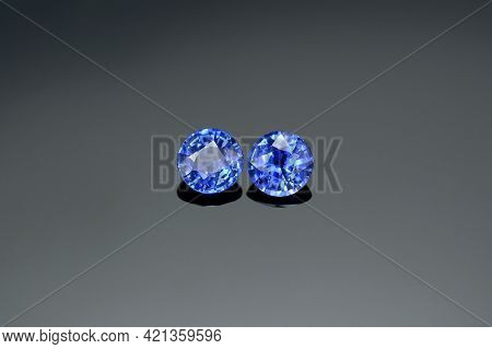 Genuine Natural Rich Cornflower Blue Color Round Faceted Calibrated Matched Pair Ceylon Sapphire Gem