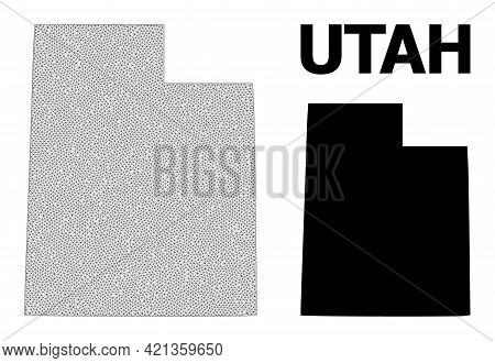 Polygonal Mesh Map Of Utah State In High Resolution. Mesh Lines, Triangles And Dots Form Map Of Utah