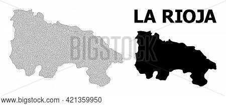 Polygonal Mesh Map Of La Rioja Spanish Province In High Detail Resolution. Mesh Lines, Triangles And