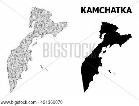 Polygonal Mesh Map Of Kamchatka Peninsula In High Detail Resolution. Mesh Lines, Triangles And Dots