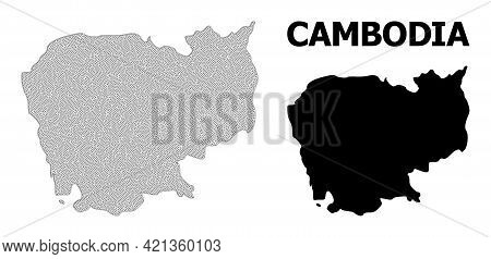 Polygonal Mesh Map Of Cambodia In High Detail Resolution. Mesh Lines, Triangles And Dots Form Map Of