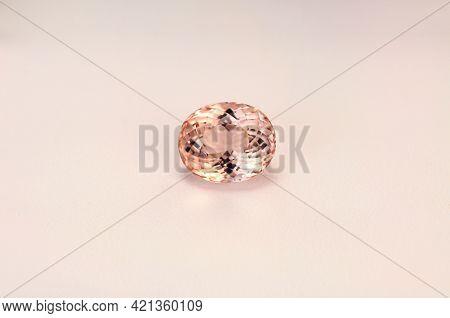 Natural, Rare Royal Paech Pink Color, Oval Faceted, Flawless, Clean Loose Morganite Gemstone. Potugu