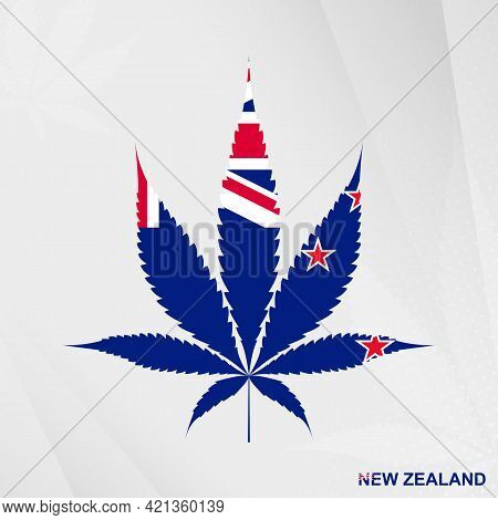 Flag Of New Zealand In Marijuana Leaf Shape. The Concept Of Legalization Cannabis In New Zealand. Me