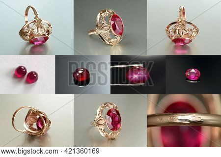 Vintage Ussr Soviet Union Womens 583, 14k Massive Gold Ring With Lab Created Ruby Faceted Gemstone S