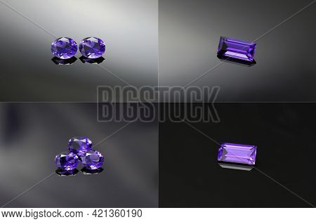 Natural Violet Purple Loose Oval Square Faceted Custom Cut Clean Flawless Unheated Iolite Gemstone S