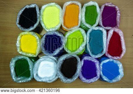 Rangoli Multi Color In Beg Rangoli Pouch Purple Black Green Blue White Different Color