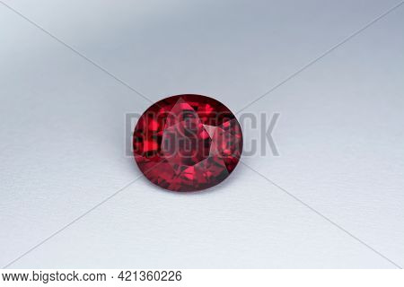 Genuine, Natural Mined, Deep Bright Red Color, Oval Faceted, Loose Rhodolite Garnet Flawless Gemston
