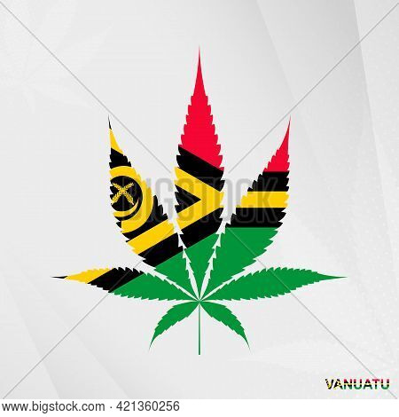 Flag Of Vanuatu In Marijuana Leaf Shape. The Concept Of Legalization Cannabis In Vanuatu. Medical Ca