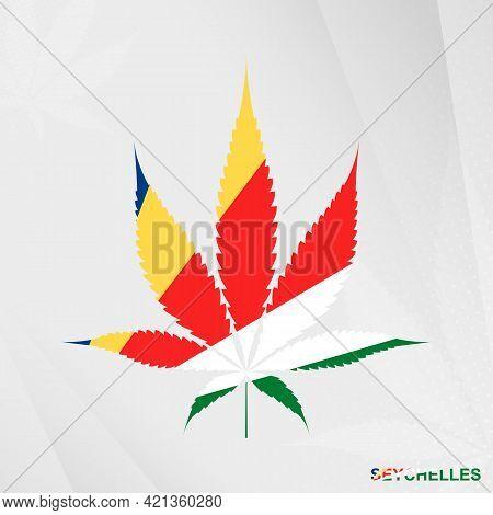 Flag Of Seychelles In Marijuana Leaf Shape. The Concept Of Legalization Cannabis In Seychelles. Medi