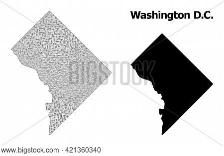 Polygonal Mesh Map Of Washington Dc In High Resolution. Mesh Lines, Triangles And Dots Form Map Of W