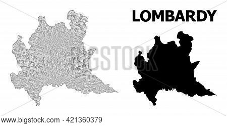 Polygonal Mesh Map Of Lombardy Region In High Detail Resolution. Mesh Lines, Triangles And Points Fo