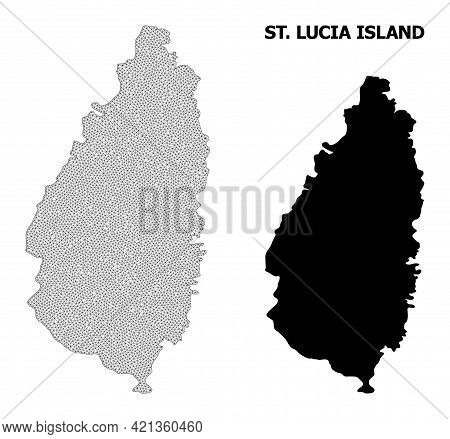 Polygonal Mesh Map Of Saint Lucia Island In High Detail Resolution. Mesh Lines, Triangles And Dots F