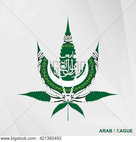 Flag Of Arab League In Marijuana Leaf Shape. The Concept Of Legalization Cannabis In Arab League. Me