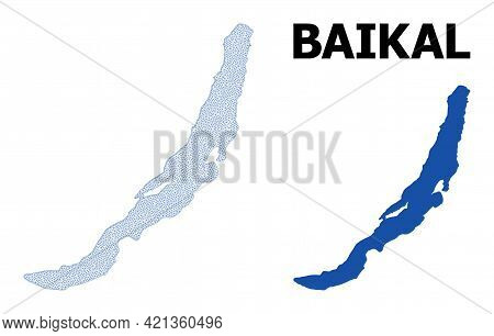 Polygonal Mesh Map Of Baikal In High Detail Resolution. Mesh Lines, Triangles And Dots Form Map Of B