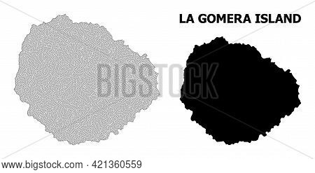 Polygonal Mesh Map Of La Gomera Island In High Detail Resolution. Mesh Lines, Triangles And Points F
