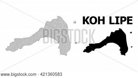 Polygonal Mesh Map Of Koh Lipe In High Resolution. Mesh Lines, Triangles And Points Form Map Of Koh