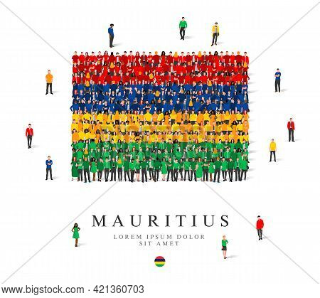A Large Group Of People Are Standing In Blue, Green, Yellow And Red Robes, Symbolizing The Flag Of M