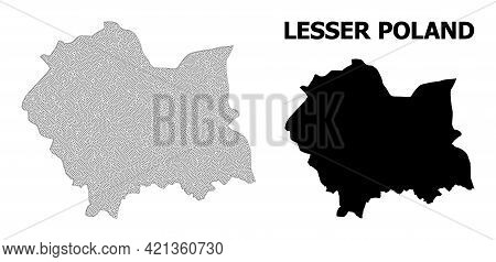Polygonal Mesh Map Of Lesser Poland Province In High Resolution. Mesh Lines, Triangles And Points Fo