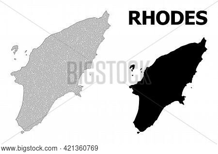 Polygonal Mesh Map Of Rhodes Island In High Resolution. Mesh Lines, Triangles And Dots Form Map Of R