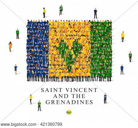 A Large Group Of People Are Standing In Blue, Yellow And Green Robes, Symbolizing The Flag Of Saint
