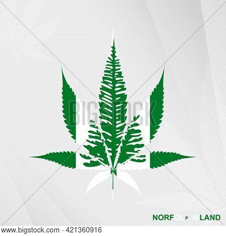Flag Of Norfolk Island In Marijuana Leaf Shape. The Concept Of Legalization Cannabis In Norfolk Isla