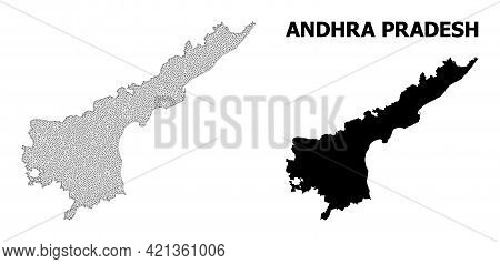 Polygonal Mesh Map Of Andhra Pradesh State In High Detail Resolution. Mesh Lines, Triangles And Poin