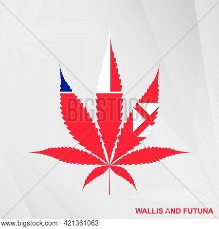 Flag Of Wallis And Futuna In Marijuana Leaf Shape. The Concept Of Legalization Cannabis In Wallis An